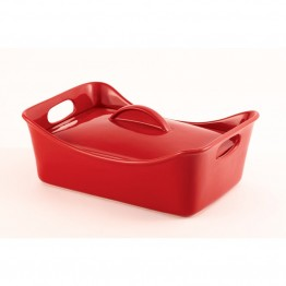 Rachael Ray Stoneware 3.5 qt. Casserole Dish in Red