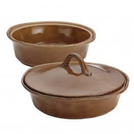 Rachael Ray Cucina Stoneware 3 Piece Casserole Dish Set in Brown