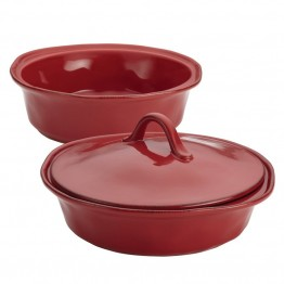 Rachael Ray Cucina Stoneware 3 Piece Casserole Dish Set in Red