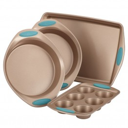 Rachael Ray Cucina Nonstick 4 Piece Bakeware Set in Brown and Blue
