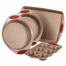 Rachael Ray Cucina Nonstick 4 Piece Bakeware Set in Brown and Red