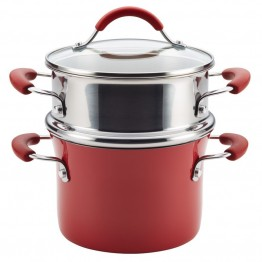 Rachael Ray Cucina Hard Enamel Nonstick Steamer in Cranberry Red