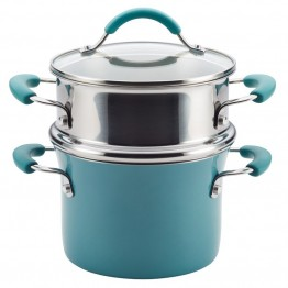 Rachael Ray Cucina Hard Enamel Nonstick Steamer in Agave Blue