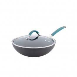 Rachael Ray Cucina Hard-Anodized Stirfry Pan in Gray and Blue