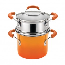Rachael Ray Hard Enamel Nonstick Steamer in Orange Gradient