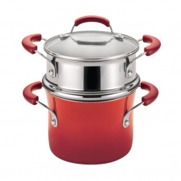 Rachael Ray Hard Enamel Nonstick Steamer in Red Gradient
