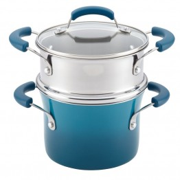 Rachael Ray Hard Enamel Steamer in Marine Blue Gradient
