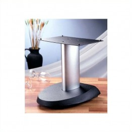VTI Aluminum Center Speaker Stand-Grey Base/Silver Pole
