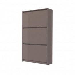Tvilum Wyatt 3 Drawer Shoe Cabinet in Mocha High Gloss