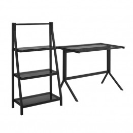 "Walker Edison 48"""" Desk and 3 Shelf Bookcase Set in Smoke"