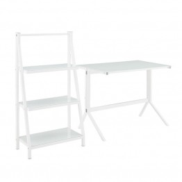 "Walker Edison 48"""" Desk and 3 Shelf Bookcase Set in White"