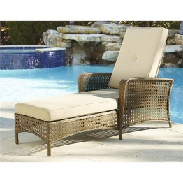 Cosco Outdoor Lakewood Ranch Steel Wicker Patio Chaise Lounge in Brown