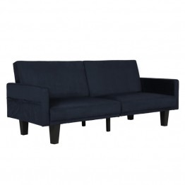 DHP Metro Split Microfiber Convertible Sofa in Navy Blue