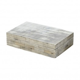 "Dimond Home Pin Stripe Bone 2"""" Box in Gray"