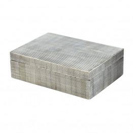 "Dimond Home Pin Stripe Bone 3"""" Box in Gray"