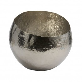 "Dimond Home Nickel Plated 8"""" Hammered Brass Bowl in Silver"