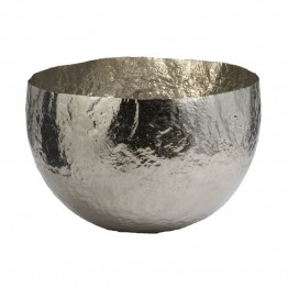 "Dimond Home Nickel Plated 9"""" Hammered Brass Bowl in Silver"