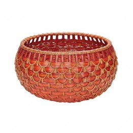 "Dimond Home 12"""" Fish Scale Basket in Red and Orange"