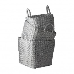 Dimond Home 3 Piece Nested Basket Set in Silver