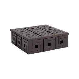 "Dimond Home Chocolate Teak 9"""" Patterned Box in Brown"