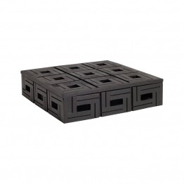 "Dimond Home Chocolate Teak 12"""" Patterned Box in Brown"