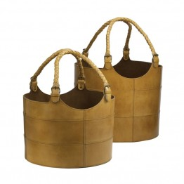Dimond Home 2 Piece Nested Caramel Leather Bucket Set in Brown