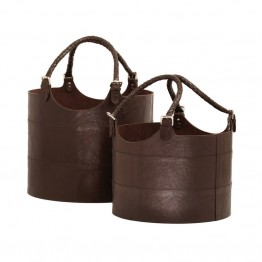 Dimond Home 2 Piece Nested Espresso Leather Bucket Set in Brown