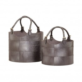 Dimond Home 2 Piece Nested Gunmetal Leather Bucket Set in Silver