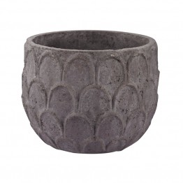 "Dimond Home Aged Powdered 14"""" Lotus Petal Carved Pot in Dark Gray"