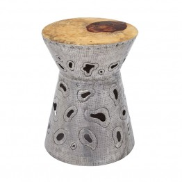 Dimond Home Amoeba Foot Stool in Natural Teak and Aluminum