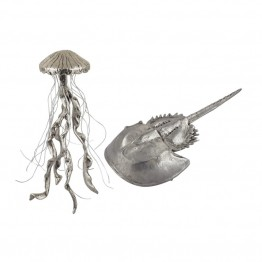 Dimond Home Hand Forged 2 Piece Jelly Fish and Horseshow Crab Figurine