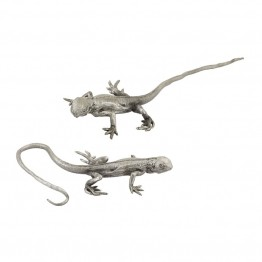 Dimond Home Hand Forged 2 Piece Long Tail Lizard Figurine in Silver