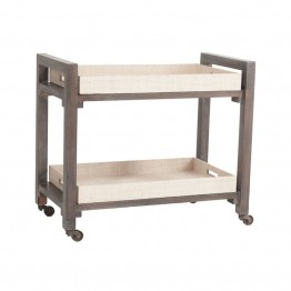 Dimond Home Wright Bar Cart in Warm Gray Stain and Natural Rattan