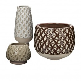 Dimond Home Two Tone Lattice 3 Piece Pot Set in Neutral Glaze