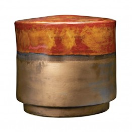 "Dimond Home 14.5"""" Coffee and Gold Garden Stool in Gold and Bronze"