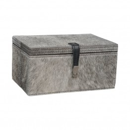 "Dimond Home Hairon Leather 4.8"""" Box in Gray"