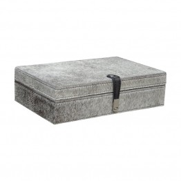 "Dimond Home Hairon Leather 2.8"""" Box in Gray"