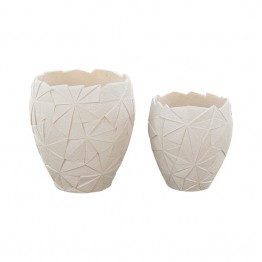 Dimond Home Origami 2 Piece Outdoor Planter Set in Matte White