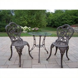Oakland Living Hummingbird Cast Aluminium 3-Piece Bistro Set-Verdi Grey