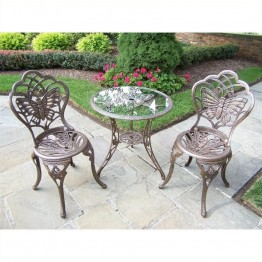 Oakland Living Butterfly Cast Aluminium 3 Piece Bistro Set-Antique Pewter