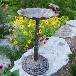 Oakland Living Frog Themed Bird Bath-Verdi Grey