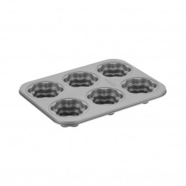 Cake Boss Novelty Bakeware 6 Cup Nonstick Flower Mold Pan in Gray