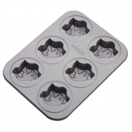 Cake Boss Novelty Bakeware Nonstick 6 Cup Ghost Mold Pan in Gray