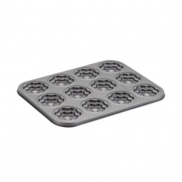 Cake Boss Novelty Bakeware Nonstick 12 Cup Flower Mold Pan in Gray