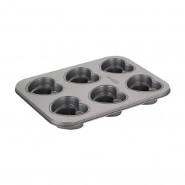 Cake Boss Novelty Bakeware Nonstick 6 Cup Heart Mold Pan in Gray