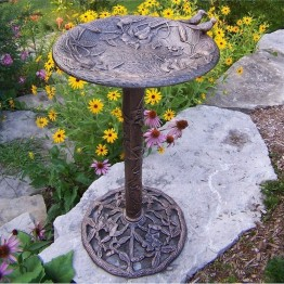 Oakland Living Hummingbird Birdbath-Antique Pewter