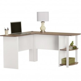 Altra Furniture Dakota L Shape Desk in White and Sonoma Oak