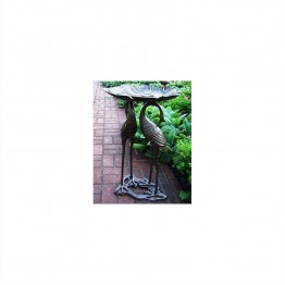 Oakland Living Two Cranes with Lily Birdbath in Antique Bronze