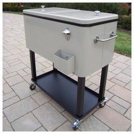 Oakland Living Steel 80qt Patio Cooler with Cart-Metallic Silver