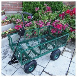 Oakland Living Utility Metal Garden Cart with 500 lb Capacity in Green